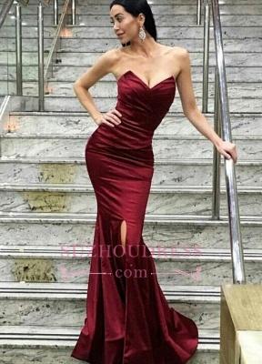 Split Modern Floor-Length Sweetheart Mermaid Evening Dress_1