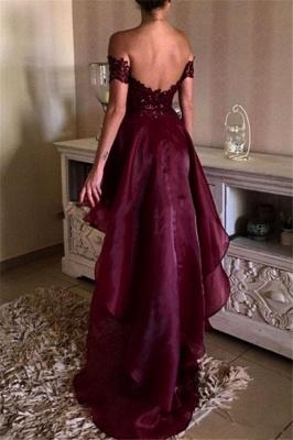Burgundy Off Shoulder Lace Prom Dresses  Hi-lo Open Back Formal Evening Dress BA4794_4