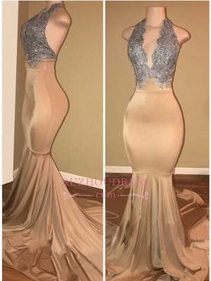 Luxury Halter Mermaid Prom Dresses  Sleeveless Applique Lace Evening Gowns BA7774_1
