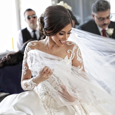 Glamorous Princess Jewel Ruffle White Wedding Dresses See Through Long Sleeves Bridal Gowns with Chapel Train_4