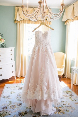 Cute Pink Sweetheart Lace Wedding Dress Latest Custom Made Plus Size Bridal Gown_1