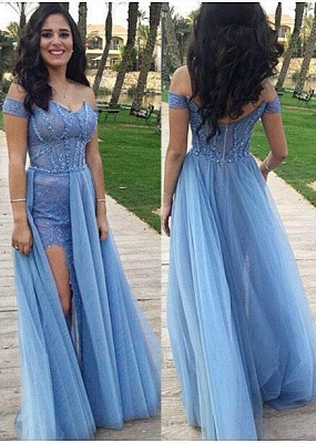 Off-the-shoulder Prom Dresses  Sexy Slit Sheath Evening Gowns_1