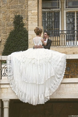 Gorgous Beading Lace Ball Gown  Wedding Dress New Arrival Bridal Gown with Long Train_4