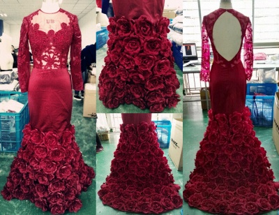 Burgundy Long Sleeve Prom Dresses  Mermaid Lace Floral Evening Dress CE045_4