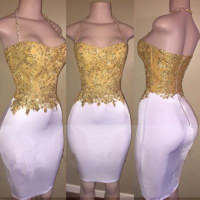 Mini Zipper Bodycon Cocktail Dress Halter  Sleeveless Beads Newest Gold Homecoming Dress_3