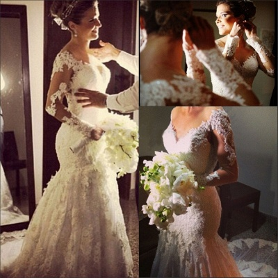 Lace Appliques Long Sleeve Wedding Dresses Mermaid Bridal Gowns with Long Train BA6835_5