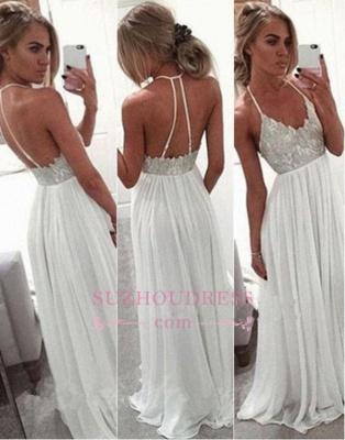 A Line Long Chiffon White Evening Gowns  Spaghetti Strap Open Back Prom Dress BA2815_1
