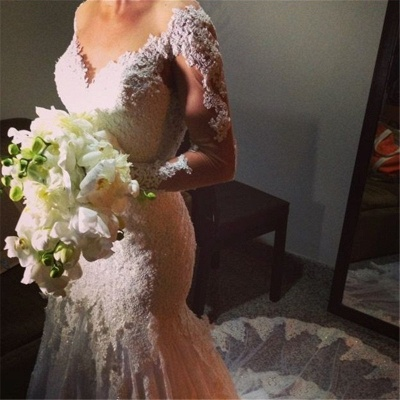 Lace Appliques Long Sleeve Wedding Dresses Mermaid Bridal Gowns with Long Train BA6835_4
