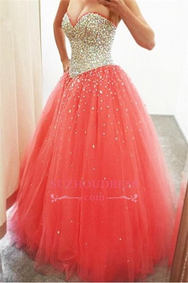 Sparkly Puffy Sweetheart Tulle Quinceanera Crystals Dresses_1