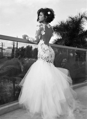 White Sexy Mermaid Tulle Long Bridal Gown Long Sleeve Backless Floor Length Wedding Dress_1