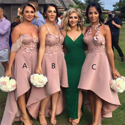 Pink Hi-Lo Appliques Bridesmaid Dresses | A-Line Sleeveless Maid of Honor_4