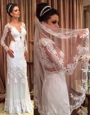 White Column Sleeve Long Lace Sheath Floor-length Wedding Dress_4