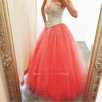 Sparkly Puffy Sweetheart Tulle Quinceanera Crystals Dresses_3