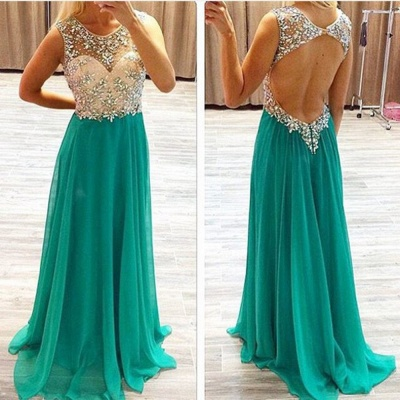 Round Neck Chiffon Evening Dress Long Backless Green Prom Dress With Beading_3