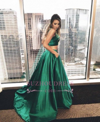 Sweep-Train Newest Sleeveless Two Piece Prom Dress  A-line Straps Evening Dress BA4656_1