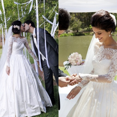 Vintage Long Sleeve Off Shoulder Wedding Dress New Arrival Custom Made White Lace Bridal Gowns_3
