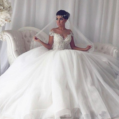 Affordable Off-the-Shoulder V-Neck Wedding Dresses Princess Ball Gown Sleeveless Bridal Gowns Online_4