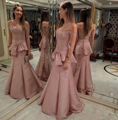 Pink Mermaid Tiered Evening Dresses   Off-the-Shoulder Appliques Prom Dresses with Beadings_3