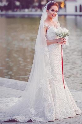 Mermaid Lace  Wedding Dresses | Long Train Cap Sleeves Bride Dress_2