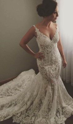 V-neck Sleeveless Mermaid Wedding Dresses  Sexy Lace Appliques Bridal Gown WE0196_1