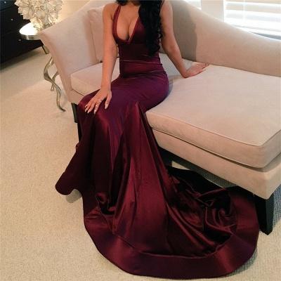 Sheath Satin Evening Dresses  Sexy Deep V-neck Sleeveless Prom Gowns  BA4623_3