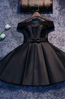Off The Shoulder Homecoming Dresses   Buttons Short Hoco Dresses with Bowknot_1