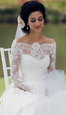 Vintage Long Sleeve Off Shoulder Wedding Dress New Arrival Custom Made White Lace Bridal Gowns_2