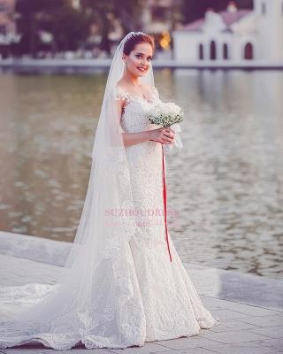 Mermaid Lace  Wedding Dresses | Long Train Cap Sleeves Bride Dress_5