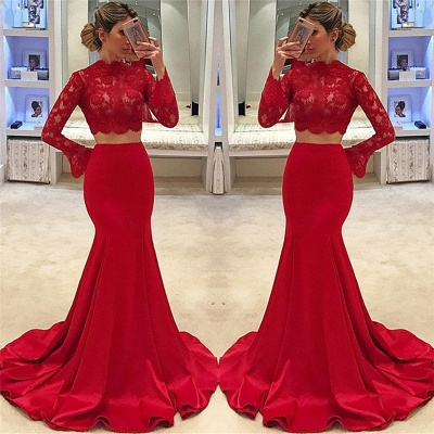 High Neck Long Sleeve Two Piece Prom Dresses  Mermaid Lace  Formal Evening Gown_3