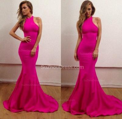 Sexy Halter Mermaid Fuchsia Long Evening Dresses Simple  Floor Length Custom Made Dresses for Women BA6723_2
