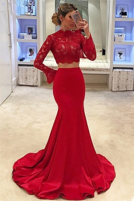 High Neck Long Sleeve Two Piece Prom Dresses  Mermaid Lace  Formal Evening Gown_1