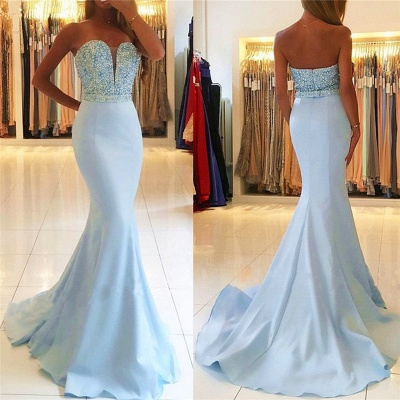 Baby Blue Mermaid Open Back Prom Dresses Sexy  Beads Sequins Formal Evening Dresses BA7755_4