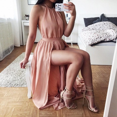 Sexy Halter Chiffon Summer Dresses Natural Split  A-Line Prom Gowns_3