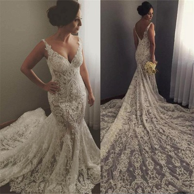 V-neck Sleeveless Mermaid Wedding Dresses  Sexy Lace Appliques Bridal Gown WE0196_4