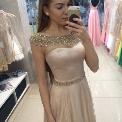 Champagne Prom Dresses Sparkly Beading Popular Evening Dress AE0001_3