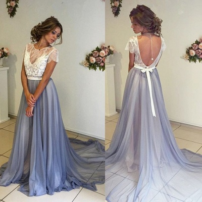 Beautiful Short Sleevea Lace Prom Dresses  A-line Sweep Train Evening Gown BA4435_4