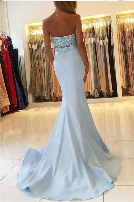 Baby Blue Mermaid Open Back Prom Dresses Sexy  Beads Sequins Formal Evening Dresses BA7755_3