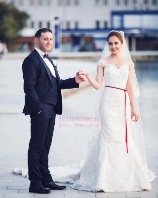 Mermaid Lace  Wedding Dresses | Long Train Cap Sleeves Bride Dress_4