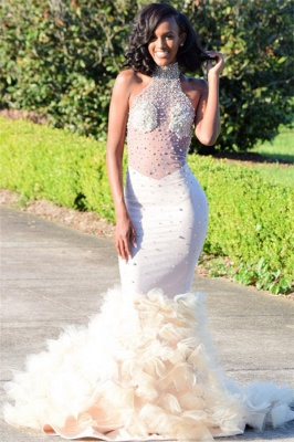 High Neck Ruffles Beads Open Back Prom Dress Sexy | See Through Mermaid Gorgeous Graduation Dress_3