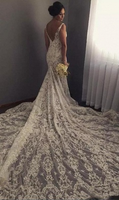 V-neck Sleeveless Mermaid Wedding Dresses  Sexy Lace Appliques Bridal Gown WE0196_3