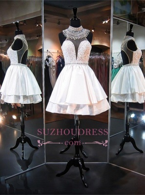 Sleeveless Mini High-Neck A-line Delicate Beads Homecoming Dress BA5103_2