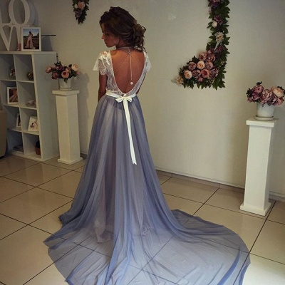 Beautiful Short Sleevea Lace Prom Dresses  A-line Sweep Train Evening Gown BA4435_3