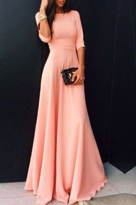 Cute Pink Half Sleeve Long Prom Dress New Arrival Simple Floor Length Evening Dresses BA6321_1