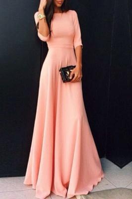 Cute Pink Half Sleeve Long Prom Dress New Arrival Simple Floor Length Evening Dresses BA6321_1