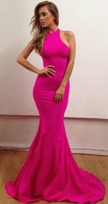Sexy Halter Mermaid Fuchsia Long Evening Dresses Simple  Floor Length Custom Made Dresses for Women BA6723_1