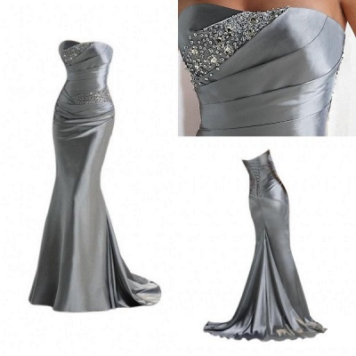 Silver Mermaid  Sexy Long Evening Dresses with Sparkly Sequins Long Train Cheap Bridesmaid Dresses LFC036_3