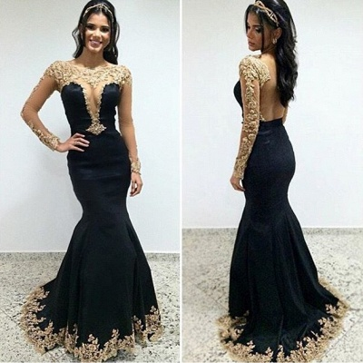 Champagne Gold Lace Appliques Prom Dress |  Mermaid Long Sleeve Evening Gown_3
