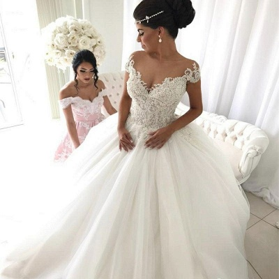 Affordable Off-the-Shoulder V-Neck Wedding Dresses Princess Ball Gown Sleeveless Bridal Gowns Online_3