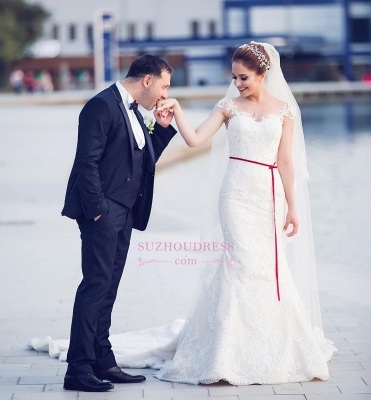 Mermaid Lace  Wedding Dresses | Long Train Cap Sleeves Bride Dress_1