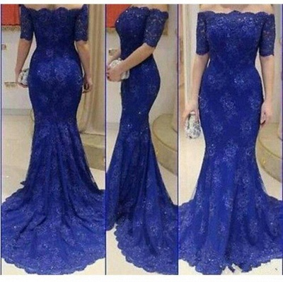 Royal Blue Mermaid Lace Long Evening Dress Sexy Off Shoulder Half Sleeve Prom Dresses BA4131_2